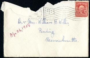 Letter from Ruby Willis, Wellesley, Massachusetts, to Dr. and Mrs. William H. Willis, Reading, Massachusetts, 1908 April 26