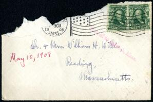 Letter from Ruby Willis, Wellesley, Massachusetts, to Dr. and Mrs. William H. Willis, Reading, Massachusetts, 1908 May 10