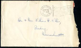 Letter from Ruby Willis, Wellesley, Massachusetts, to Dr. and Mrs. William H. Willis, Reading, Massachusetts, 1908 June 21