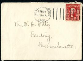 Letter from Ruby Willis, Wellesley, Massachusetts, to Dr. and Mrs. William H. Willis, Reading, Massachusetts, 1906 February 26