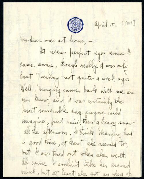 Letter from Ruby Willis, Wellesley, Massachusetts, to Dr. and Mrs. William H. Willis, Reading, Massachusetts, 1907 April 15