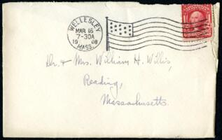 Letter from Ruby Willis, Wellesley, Massachusetts, to Dr. and Mrs. William H. Willis, Reading, Massachusetts, 1908 March 15