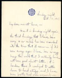 Letter from Ruby Willis, Wellesley, Massachusetts, to Dr. and Mrs. William H. Willis, Reading, Massachusetts, 1907 October 13