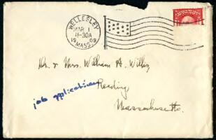 Letter from Ruby Willis, Wellesley, Massachusetts, to Dr. and Mrs. William H. Willis, Reading, Massachusetts, 1909 February 28