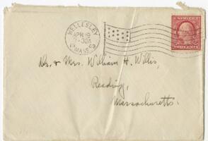 Letter from Ruby Willis, Wellesley, Massachusetts, to Dr. and Mrs. William H. Willis, Reading, Massachusetts, 1909 April 19