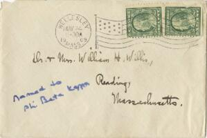 Letter from Ruby Willis, Wellesley, Massachusetts, to Dr. and Mrs. William H. Willis, Reading, Massachusetts, 1909 May 23