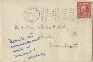 Letter from Ruby Willis, Wellesley, Massachusetts, to Dr. and Mrs. William H. Willis, Reading, Massachusetts, 1909 May 10