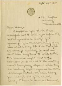 Letter from Mary Rosa, Wellesley, Massachusetts, to Helen, 1910 September 25