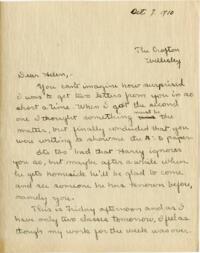 Letter from Mary Rosa, Wellesley, Massachusetts, to Helen, 1910 October 7