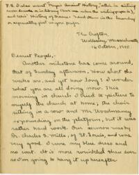 Letter from Mary Rosa, Wellesley, Massachusetts, to her parents, 1910 October 16