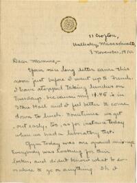 Letter from Mary Rosa, Wellesley, Massachusetts, to her mother, 1910 November 8