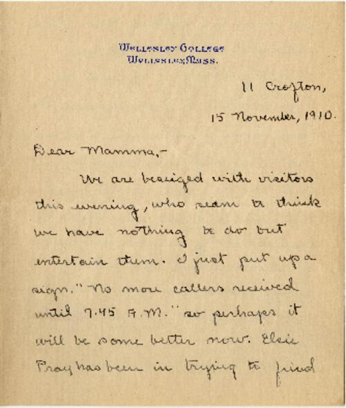 Letter from Mary Rosa, Wellesley, Massachusetts, to her mother, 1910 November 15