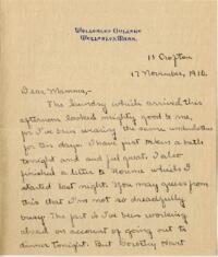 Letter from Mary Rosa, Wellesley, Massachusetts, to her mother, 1910 November 17