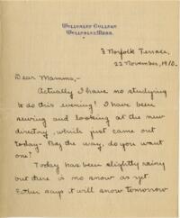 Letter from Mary Rosa, Wellesley, Massachusetts, to her mother, 1910 November 22