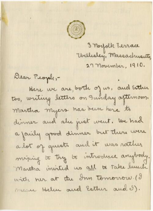 Letter from Mary Rosa, Wellesley, Massachusetts, to her parents, 1910 November 27