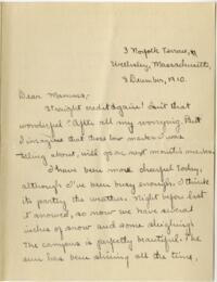 Letter from Mary Rosa, Wellesley, Massachusetts, to her mother, 1910 December 8