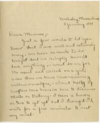 Letter from Mary Rosa, Wellesley, Massachusetts, to her mother, 1910 January 5