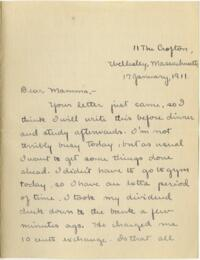 Letter from Mary Rosa, Wellesley, Massachusetts, to her mother, 1911 January 17