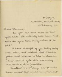 Letter from Mary Rosa, Wellesley, Massachusetts, to her mother, 1911 February 19