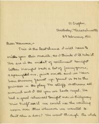 Letter from Mary Rosa, Wellesley, Massachusetts, to her mother, 1911 February