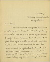 Letter from Mary Rosa, Wellesley, Massachusetts, to her father, 1911 April 14