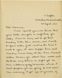 Letter from Mary Rosa, Wellesley, Massachusetts, to her mother, 1911 April 20