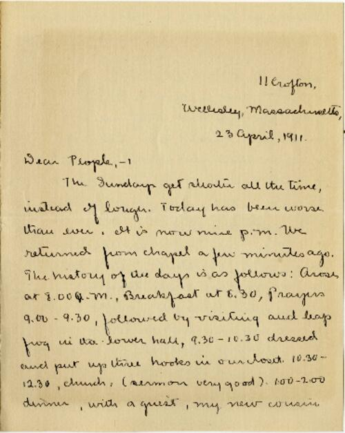 Letter from Mary Rosa, Wellesley, Massachusetts, to her parents, 1911 April 23