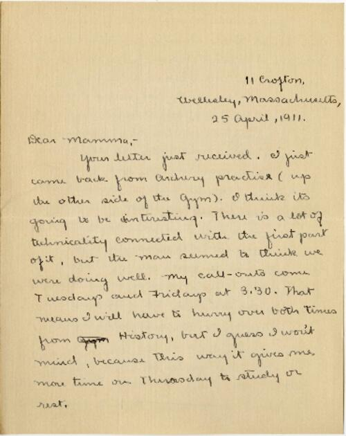 Letter from Mary Rosa, Wellesley, Massachusetts, to her mother, 1911 April 25