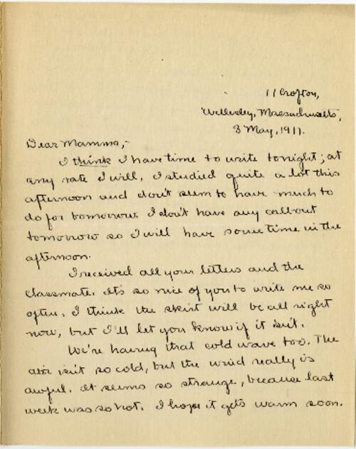 Letter from Mary Rosa, Wellesley, Massachusetts, to her mother, 1911 May 3