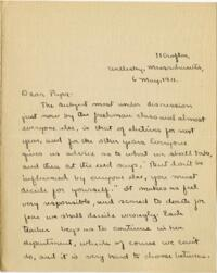 Letter from Mary Rosa, Wellesley, Massachusetts, to her father, 1911 May 6
