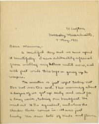 Letter from Mary Rosa, Wellesley, Massachusetts, to her mother, 1911 May 7