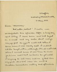 Letter from Mary Rosa, Wellesley, Massachusetts, to her mother, 1911 May 11