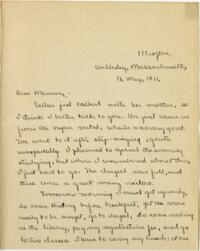 Letter from Mary Rosa, Wellesley, Massachusetts, to her mother, 1911 May 16