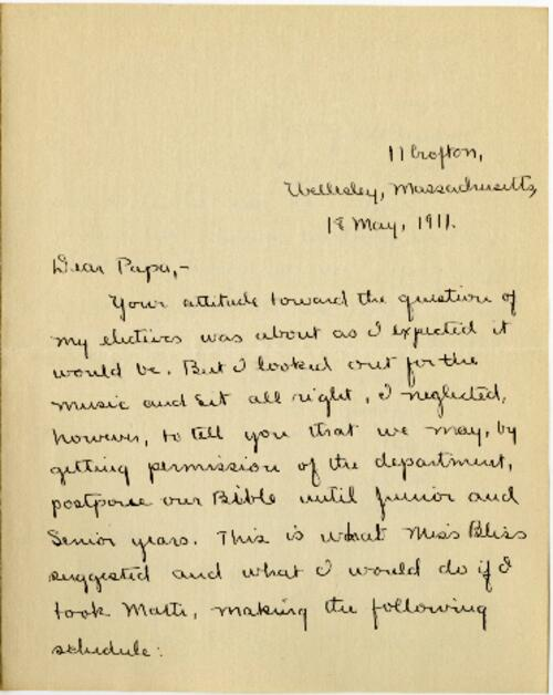 Letter from Mary Rosa, Wellesley, Massachusetts, to her father, 1911 May 18
