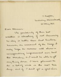 Letter from Mary Rosa, Wellesley, Massachusetts, to her mother, 1911 May 28