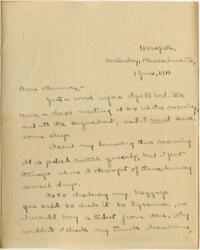 Letter from Mary Rosa, Wellesley, Massachusetts, to her mother, 1911 June 1