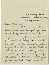 Letter from Mary Rosa, Wellesley, Massachusetts, to her mother, 1911 September 21
