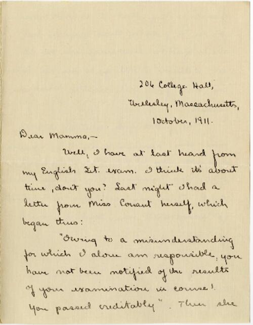 Letter from Mary Rosa, Wellesley, Massachusetts, to her mother, 1911 October 1