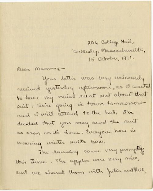 Letter from Mary Rosa, Wellesley, Massachusetts, to her mother, 1911 October 15