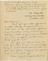 Letter from Mary Rosa, Wellesley, Massachusetts, to her mother, 1911 October 17