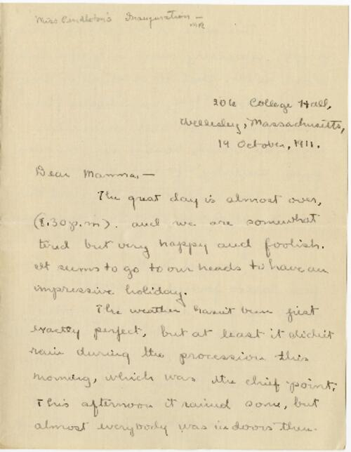 Letter from Mary Rosa, Wellesley, Massachusetts, to her mother, 1911 October 19