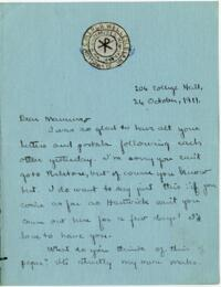 Letter from Mary Rosa, Wellesley, Massachusetts, to her mother, 1911 October 26