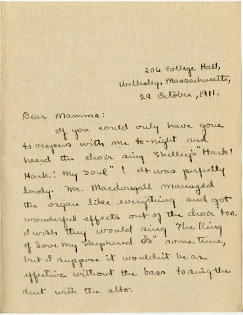 Letter from Mary Rosa, Wellesley, Massachusetts, to her mother, 1911 October 29