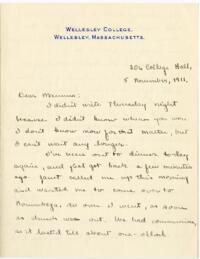 Letter from Mary Rosa, Wellesley, Massachusetts, to her mother, 1911 November 5
