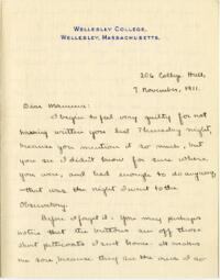 Letter from Mary Rosa, Wellesley, Massachusetts, to her mother, 1911 November 7