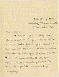 Letter from Mary Rosa, Wellesley, Massachusetts, to her mother, 1911 November 9