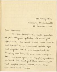 Letter from Mary Rosa, Wellesley, Massachusetts, to her mother, 1911 November 12