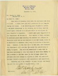 Letter from Ellen Pendleton, Wellesley, Massachusetts, to George C. Rosa, Wellsville, New York, 1911 December 6