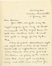 Letter from Mary Rosa, Wellesley, Massachusetts, to her mother, 1912 January 11