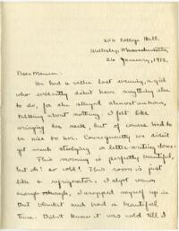 Letter from Mary Rosa, Wellesley, Massachusetts, to her mother, 1912 January 26